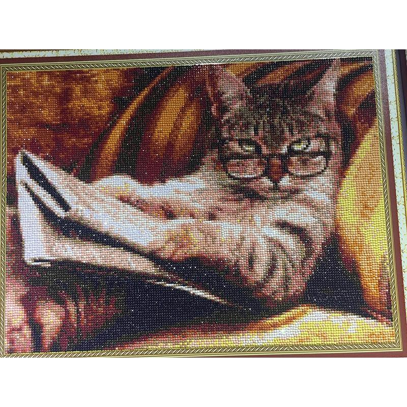 Cat animal DIY 5D Cross Stitch Full Square Round Diamond Painting