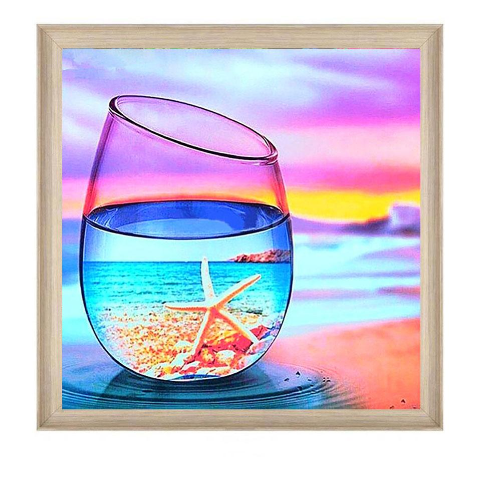Seaside beach glass scenery DIY 5D Cross Stitch Full Square Round Diamond Painting