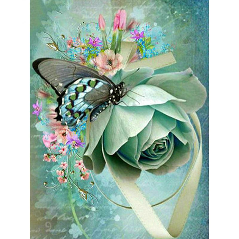 Butterfly And Flower DIY 5D Cross Stitch Full Square Round Diamond Painting