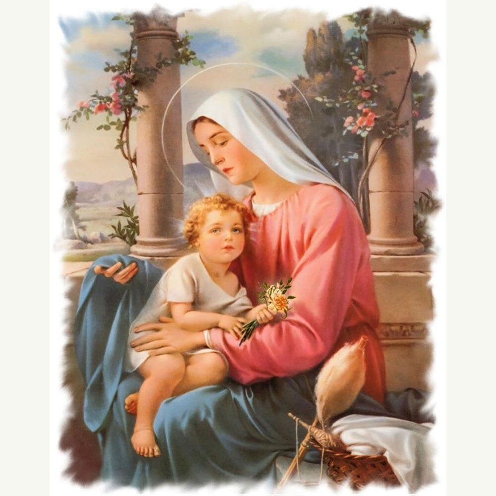 Virgin Mary Religious DIY 5D Cross Stitch Full Square Round Diamond Painting