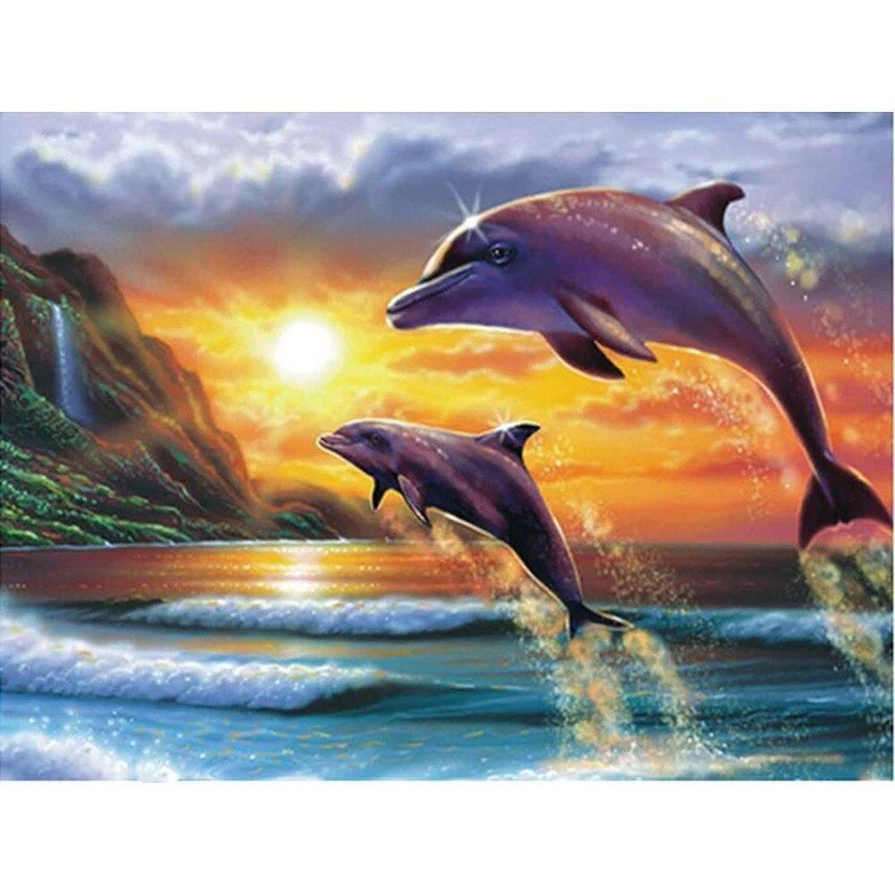 Animals Dolphins DIY 5D Cross Stitch Full Square Round Diamond Painting