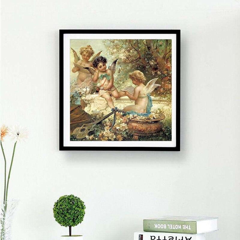 Little Angels Playing Lullaby Baby Sleep DIY 5D Cross Stitch Full Square Round Diamond Painting