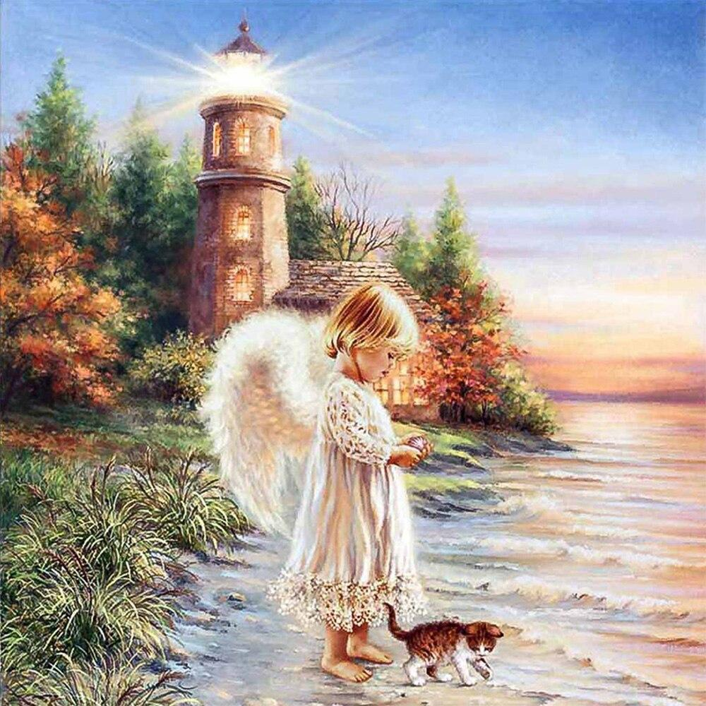 Angel DIY 5D Cross Stitch Full Square Round Diamond Painting