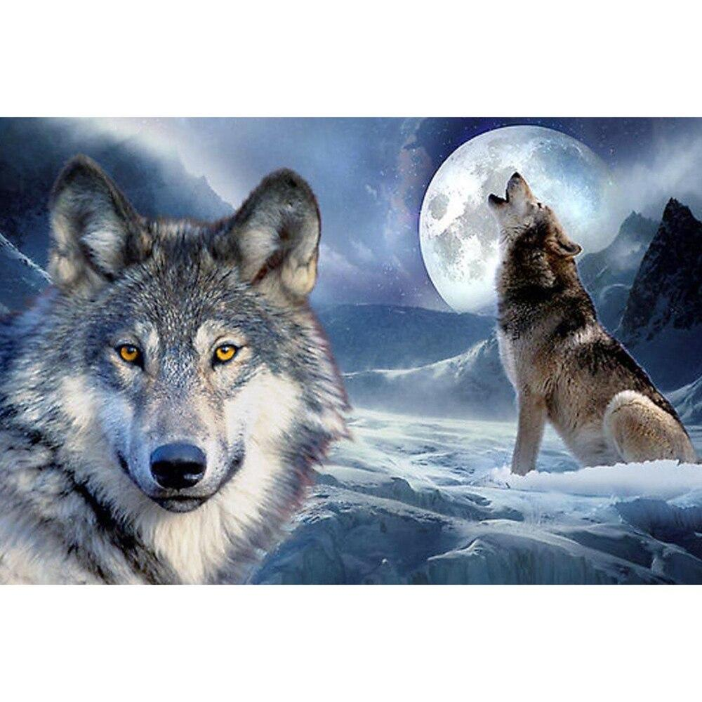 Snow wolf at night DIY 5D Cross Stitch Full Square Round Diamond Painting