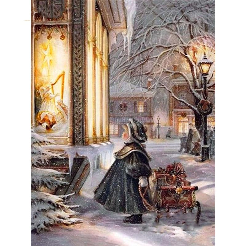 Winter Girl DIY 5D Cross Stitch Full Square Round Diamond Painting