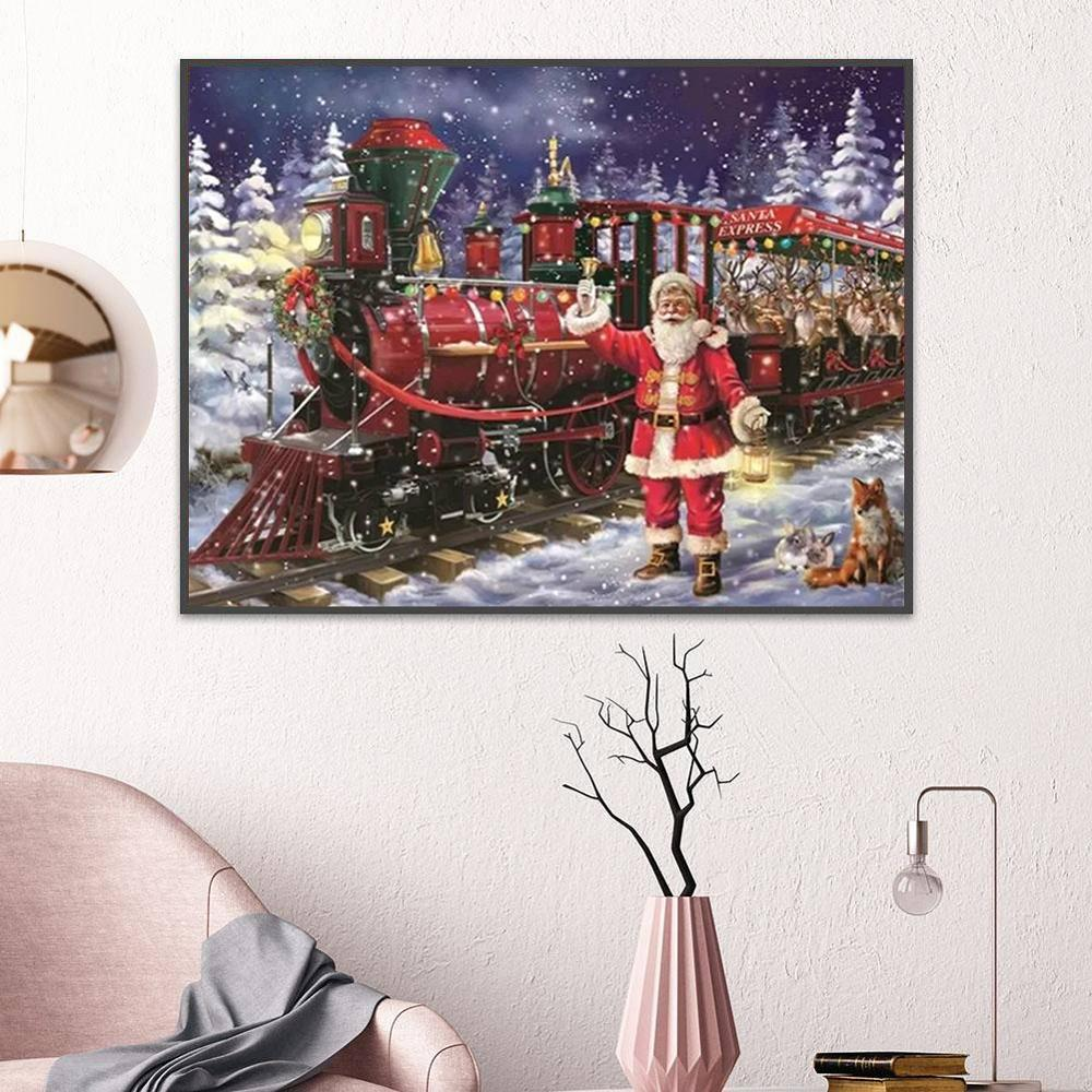 Santa Claus DIY 5D Cross Stitch Full Square Round Diamond Painting