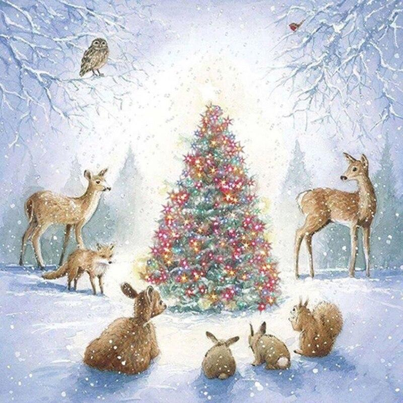 Christmas Tree With Deers DIY 5D Cross Stitch Full Square Round Diamond Painting