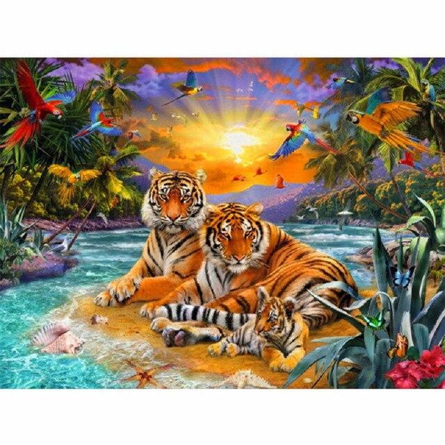 Forest Tiger DIY 5D Cross Stitch Full Square Round Diamond Painting