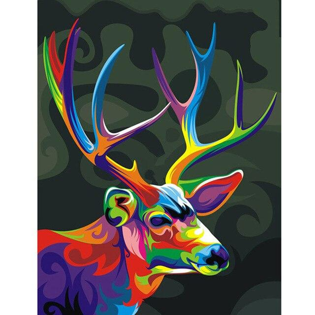 Colored Deer DIY 5D Cross Stitch Full Square Round Diamond Painting