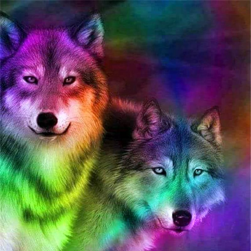 Wolf DIY 5D Cross Stitch Full Square Round Diamond Painting