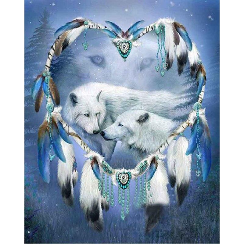 Two White Wolves DIY 5D Cross Stitch Full Square Diamond Painting