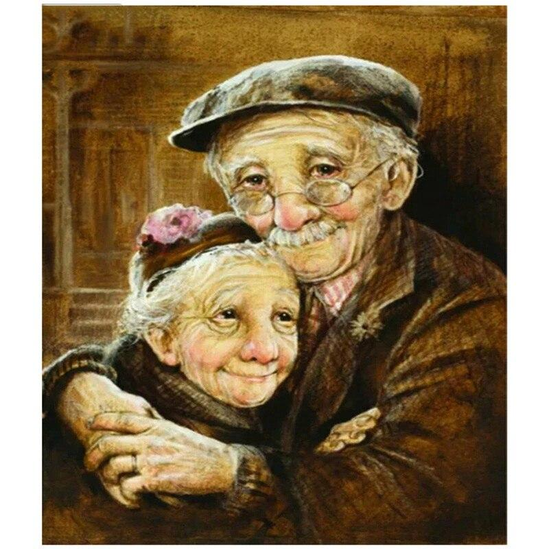Happy Old Couple DIY 5D Cross Stitch Full Square Round Diamond Painting