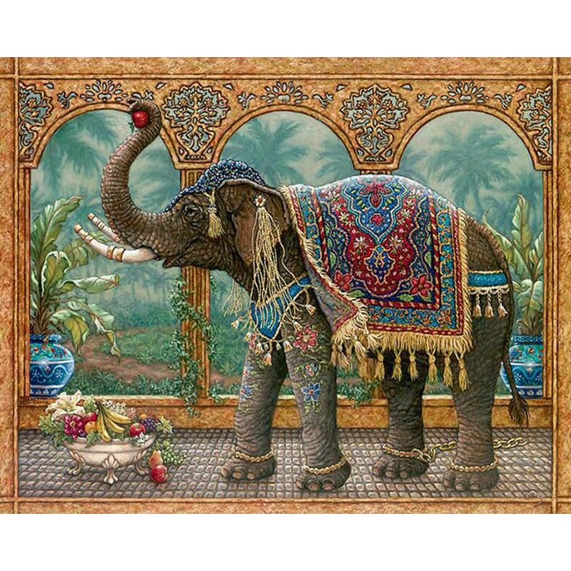 Full Square 5D DIY Diamond Painting Gray Elephant Crystal Embroidery