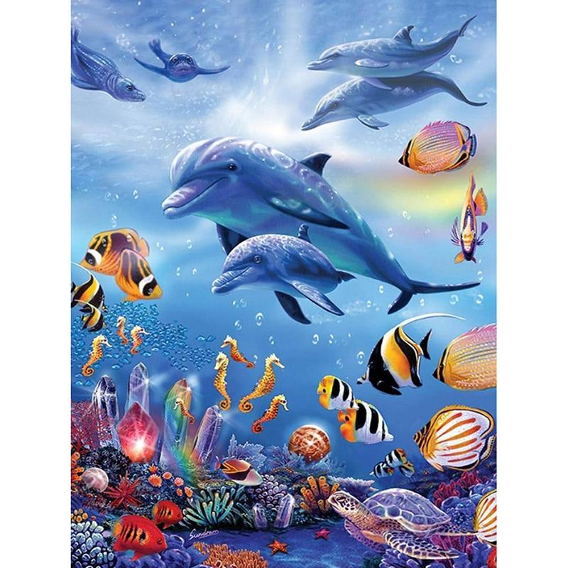 Animal Dolphins With Fishes DIY 5D Cross Stitch Full Square Diamond Painting