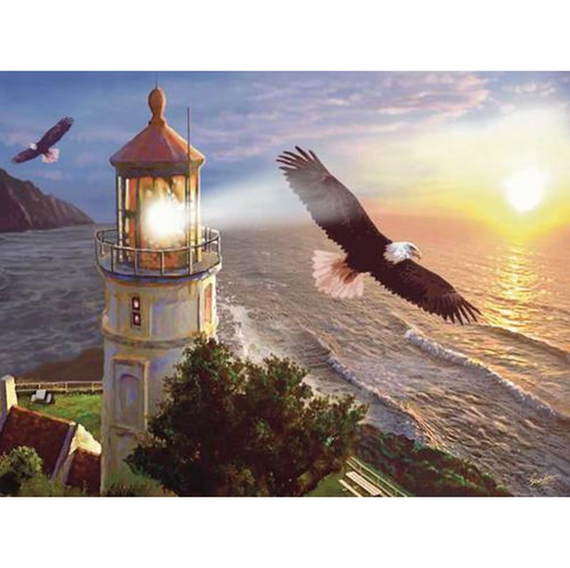 Seaside Lighthouse DIY 5D Cross Stitch Full Square Diamond Painting