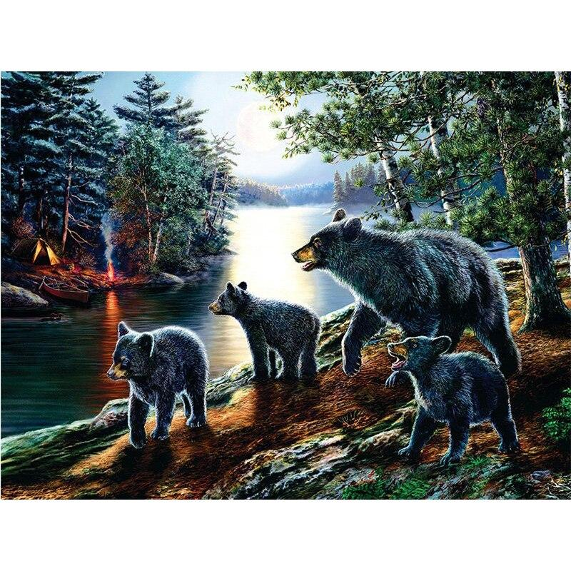Full SquareRound Drill 5D DIY Diamond Painting Black Bears Family Embroidery