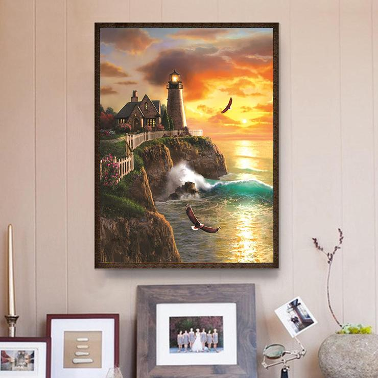 Eagel Lighthouse DIY 5D Cross Stitch Full Square Diamond Painting