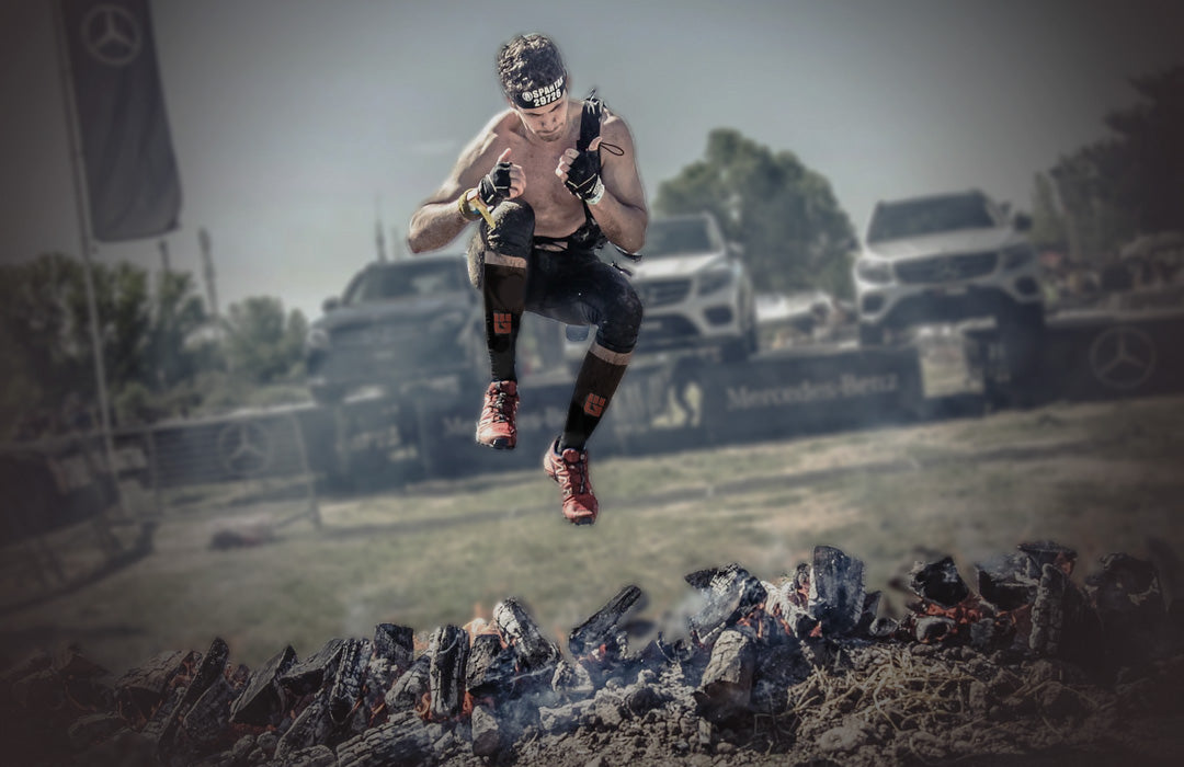 The fire jump is always the final obstacle before the finish line at Spartan