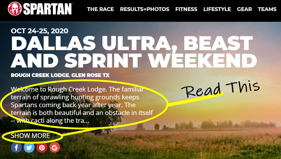 Example of Spartan Race Location Information