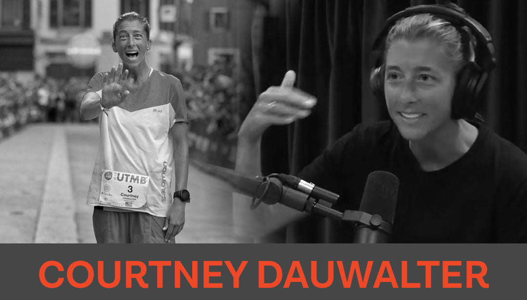 Photo collage of trail runner and influencer Courtney Dauwalter