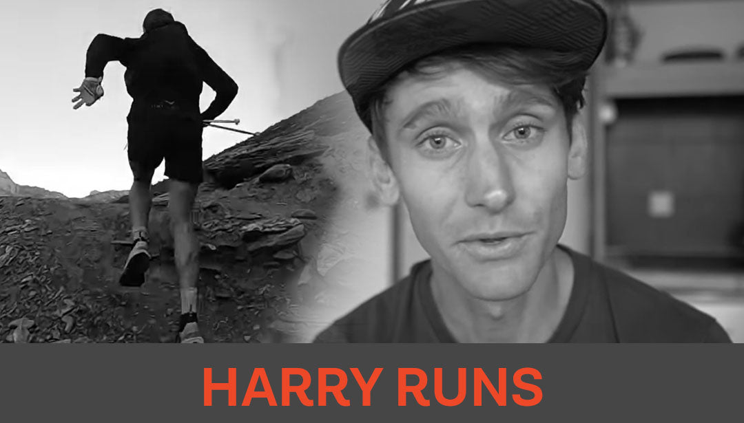 Photo collage of trail runner and influencer Harry Runs