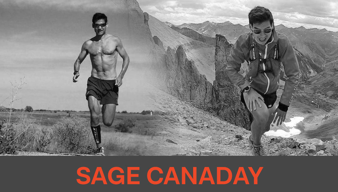 Photo collage of trail runner Sage Canaday