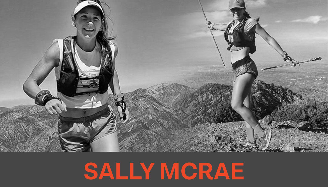 Photo collage of trail runner and influencer Sally McRae