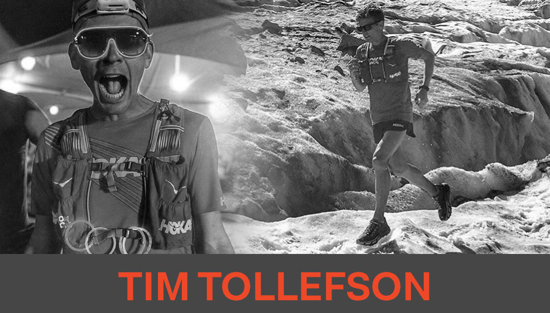 Photo collage of trail runner and influencer Tim Tollefson