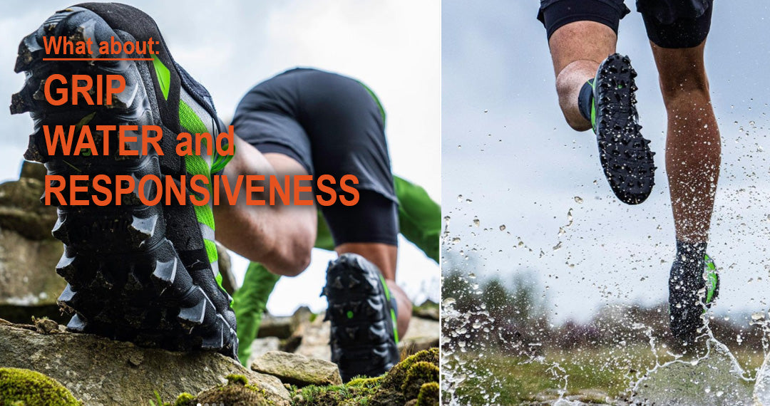 Trail shoes performance includes grip, water handling, and responsiveness.