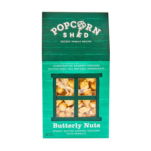 Popcorn Shed | Butterly Nuts Gourmet | Peanut butter caramel popcorn with peanuts | 90g Shed