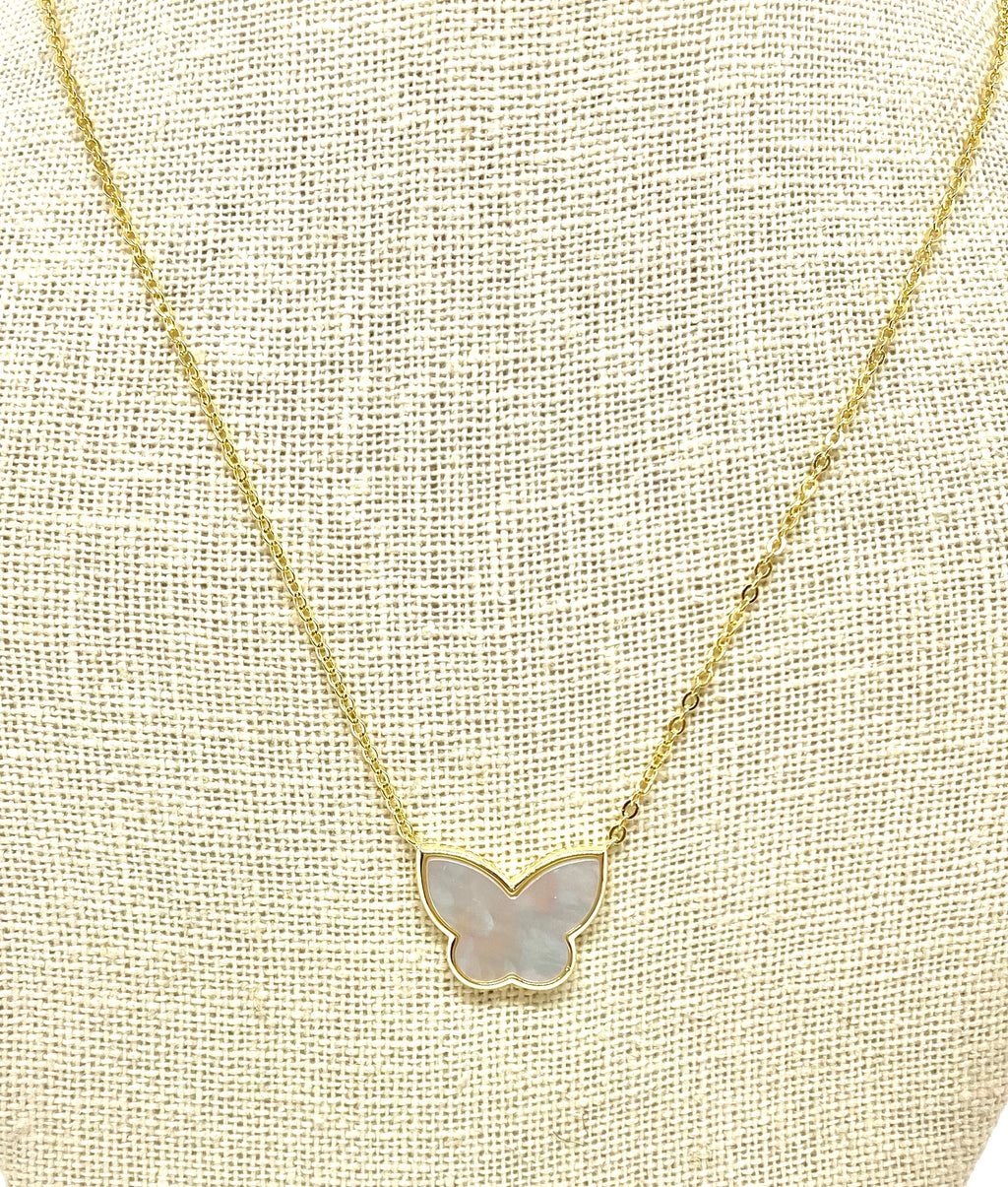 Be Blessed White Opal Butterfly Necklace