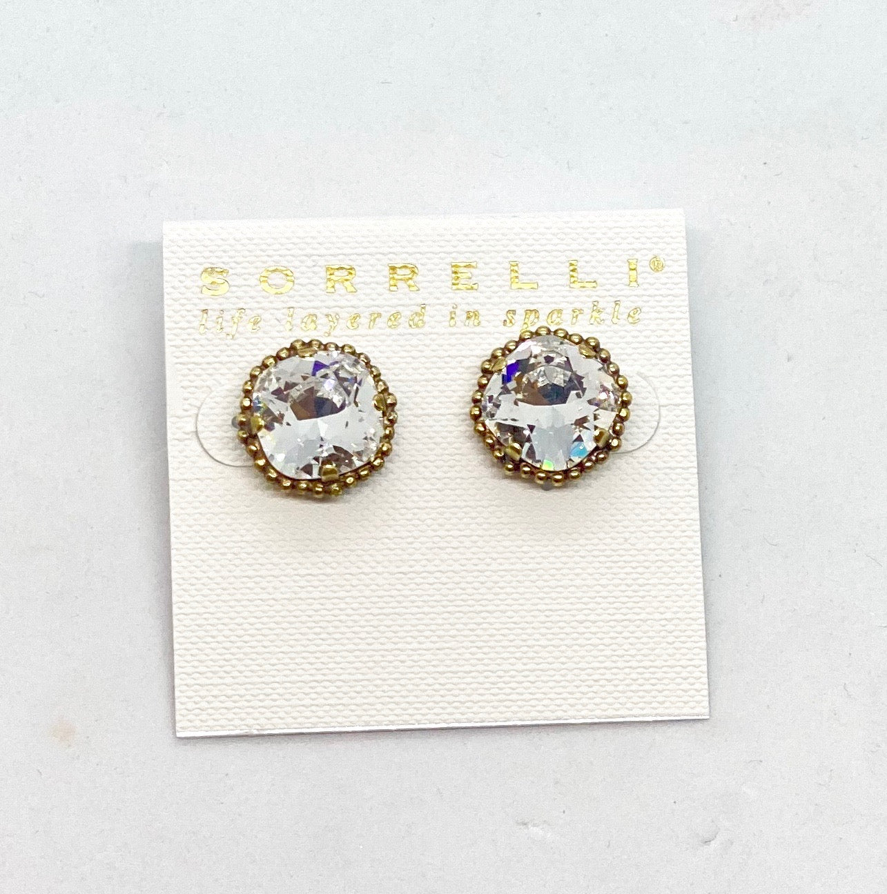 EBX10 Antique gold clear-Cushion Cut Solitaire Stud Earring