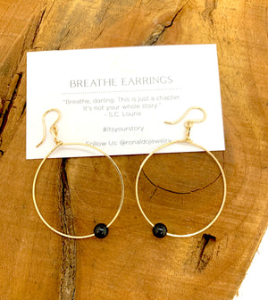 Ronaldo Breathe Earrings | Gold with Black Onyx