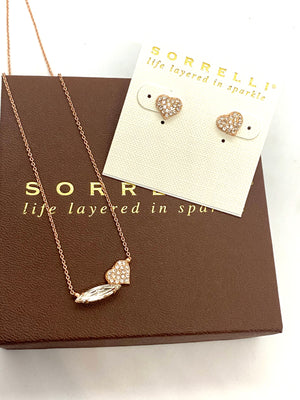 Sorrelli Rose Gold Hart Pendant Necklace & Earring Set