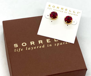 Sorrelli Studs-ECM14 Bright Gold Red