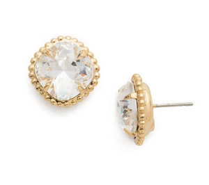 EBX10 Bright Gold Clear- Cushion Cut Solitaire Stud