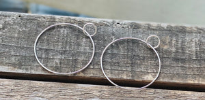 Sterling all silver double circle earrings