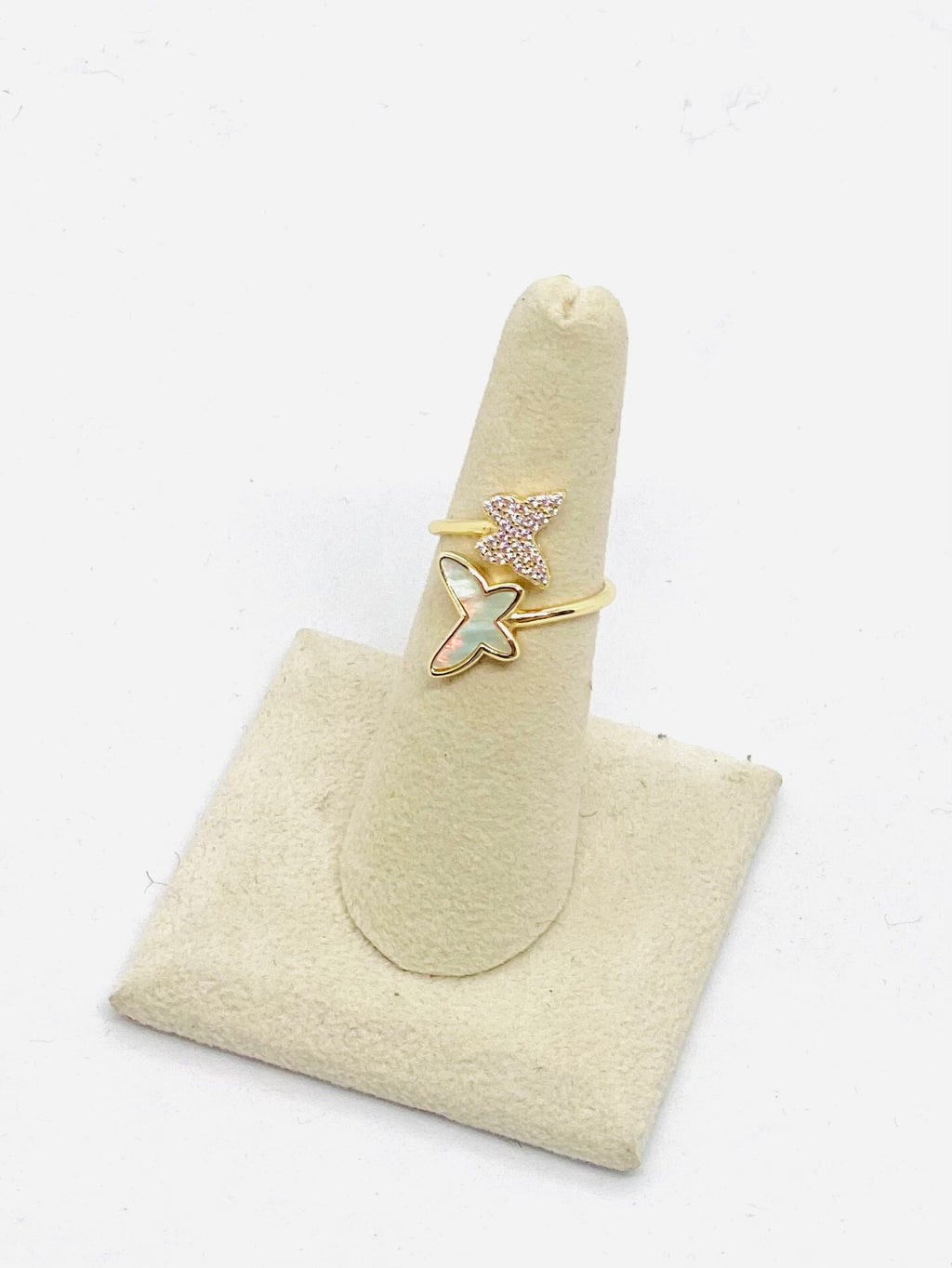 Sterling with gold overlay double butterfly ring