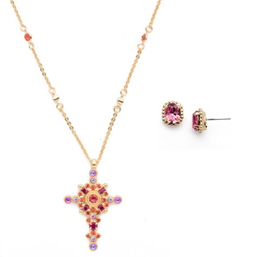 $165 Begonia Sorrelli Long Style Cross Set NDH46 | EDQ10