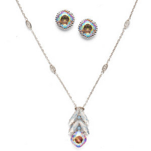 $140 Nantucket Blue Sorrelli Long Pendant Set NEN19 | EBX10