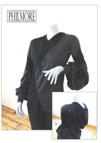 Hooded Top in Black & Grey with pleat balloon sleeve