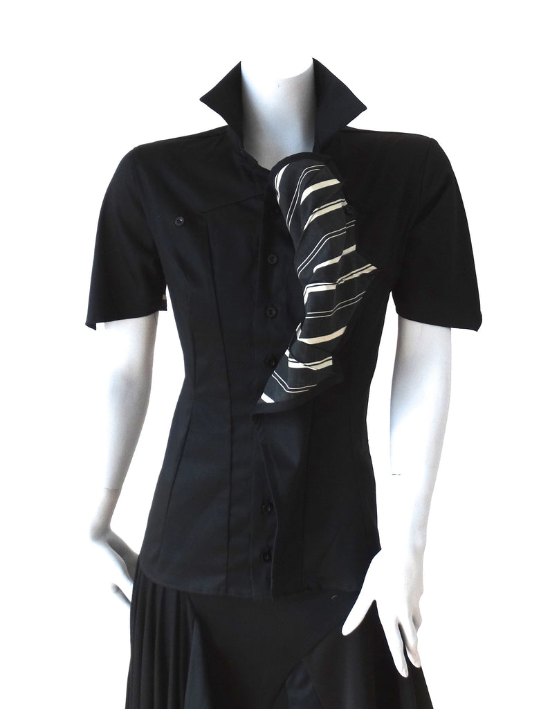 Sculptable Frill Shirt ( black striped short sleeve )