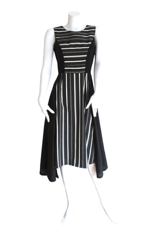 Pleat Fronted Monochrome Striped Dress