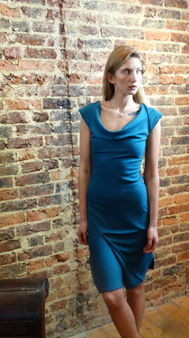 Ponti Jersey Teal Cowl Neck Dress