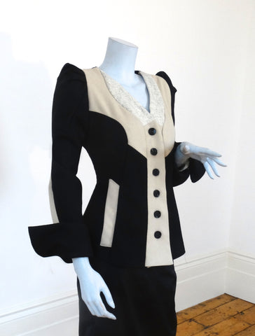 Scala pleated shoulder wool jacket ( Collarless )