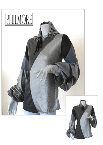 Hooded Top in Silver & Grey with pleat balloon sleeve