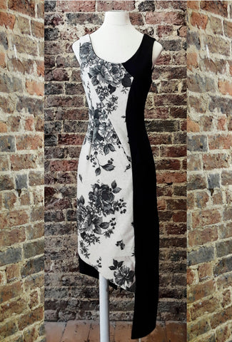 Floral Ticking Fabric Split Shadow Dress