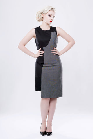 Black and Grey Shadow-Cut Shift Dress