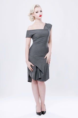 Charcoal Cowl Neck Dress