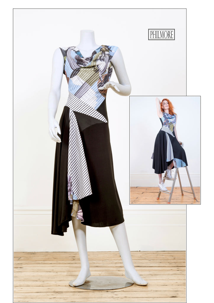 Hybrid dress with cotton voile layers